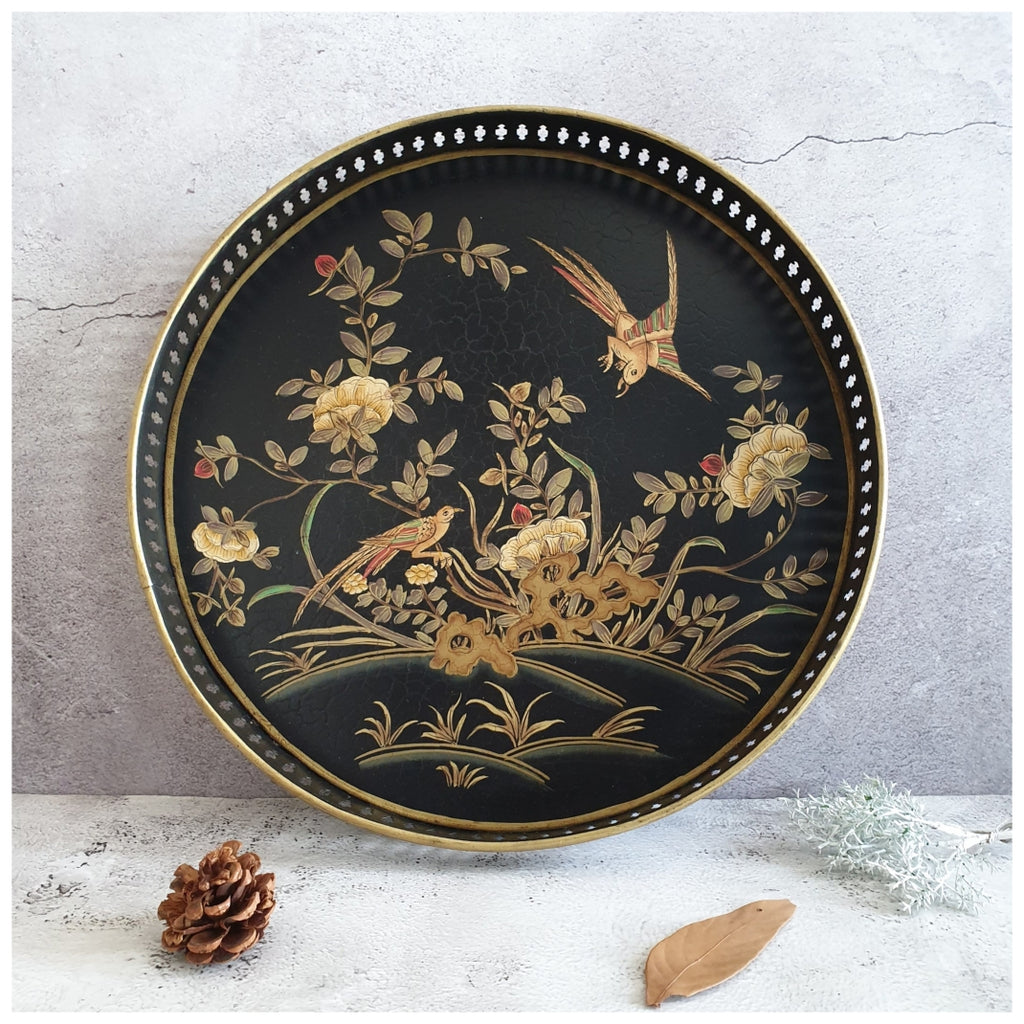 HAND PAINTED - SERVING TRAY ROUND LARGE - ENGLISH VINTAGE GARDEN