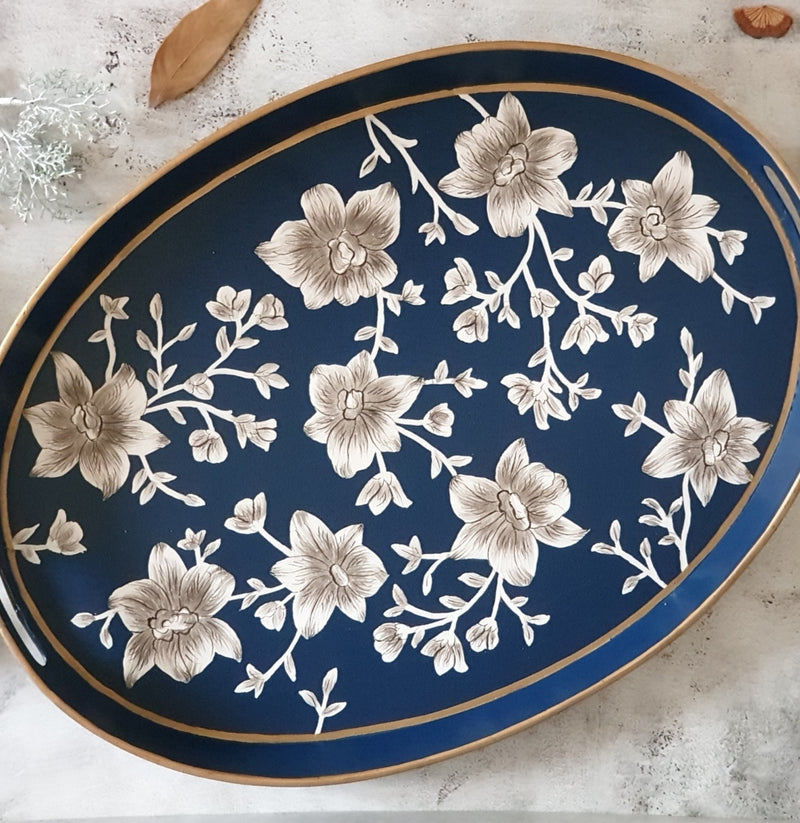HAND PAINTED - SERVING TRAY OVAL LARGE - BLOOMING HIBISCUS