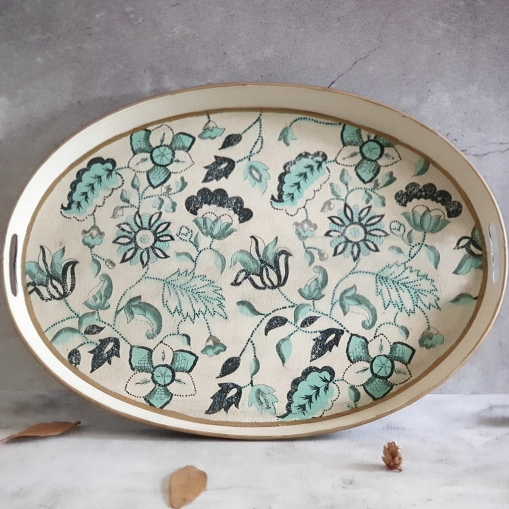 HAND PAINTED - SERVING TRAY OVAL LARGE - FLORAL SERENITY DISTRESS VINTAGE