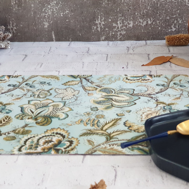WIPE CLEAN TABLEMATS/PLACEMATS - SKY BLUE FLORAL