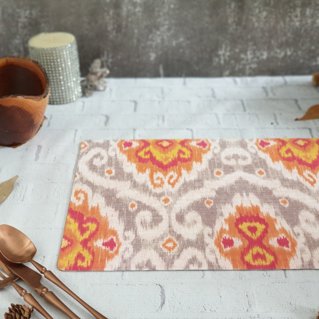 WIPE CLEAN TABLEMATS/PLACEMATS - ORANGE IKAT