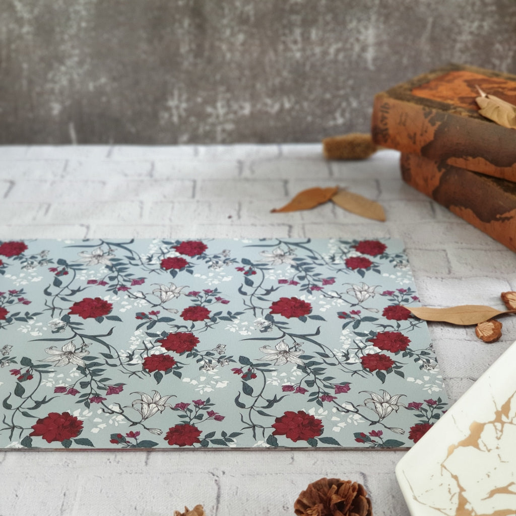 WIPE CLEAN TABLEMATS/PLACEMATS - GRAY & RED FLORAL