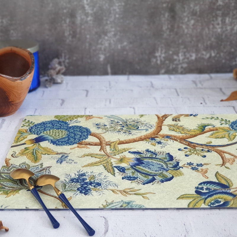 WIPE CLEAN TABLEMATS/PLACEMATS - PEACOCK BLUE FLORAL