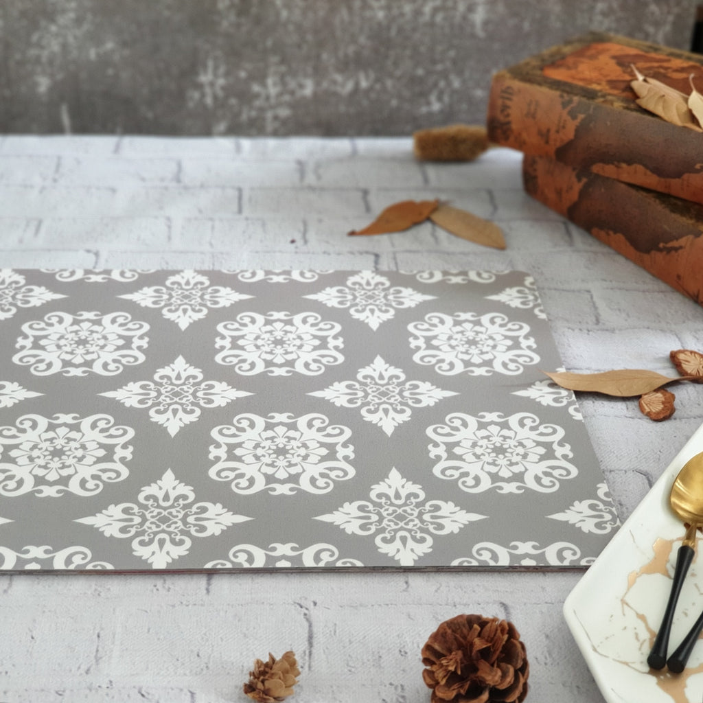 GRAY FLORAL MANDALA WIPE CLEAN TABLEMATS/PLACEMATS