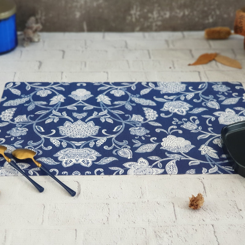 COTTON BLUE WIPE CLEAN TABLEMATS/PLACEMATS