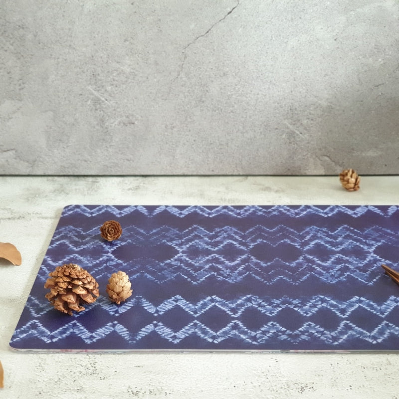 WIPE CLEAN TABLEMATS/PLACEMATS - TRIBAL IKAT BLUE