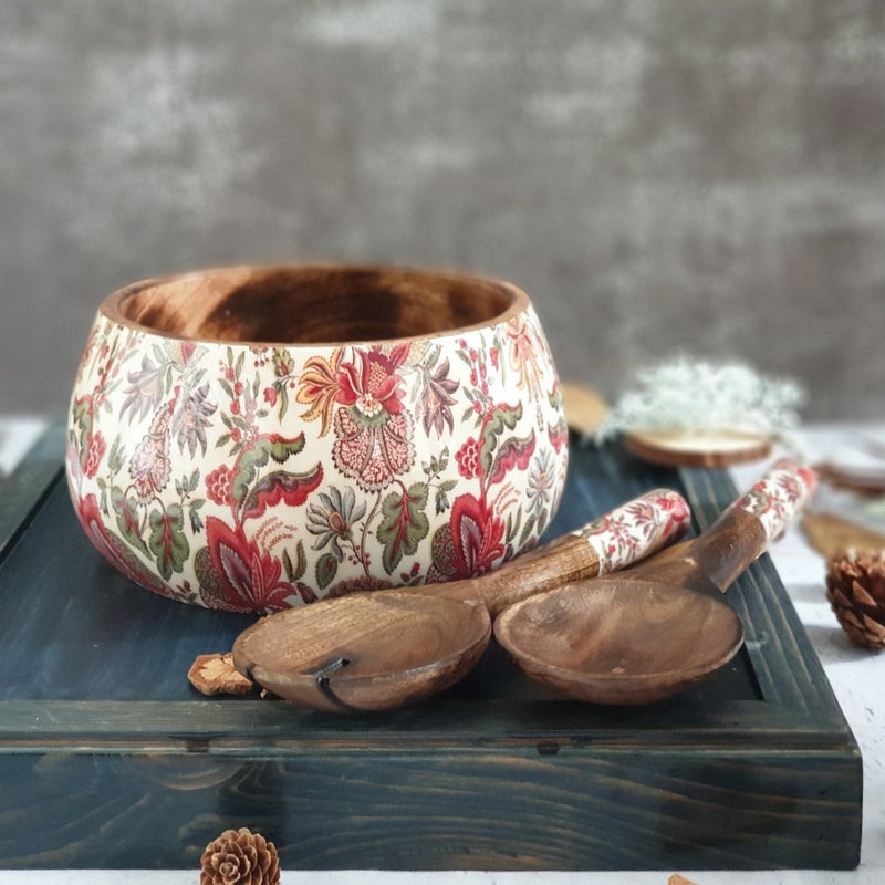 KALAMKARI SALAD BOWL WITH MATCHING SERVERS (MEDIUM)