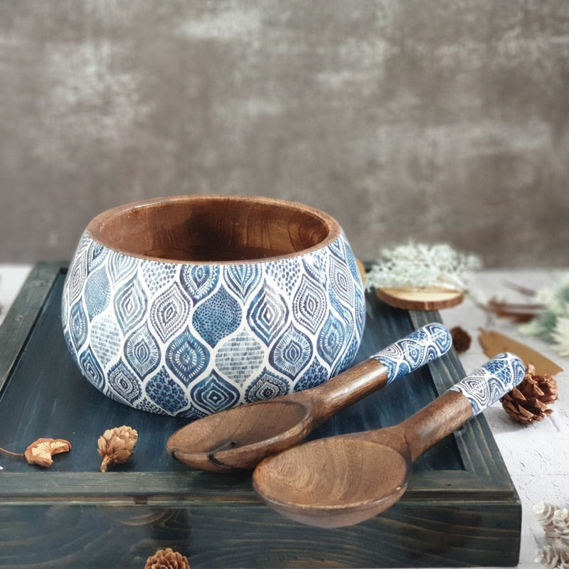 PALM MANDALA SALAD BOWL WITH MATCHING SERVERS (MEDIUM)