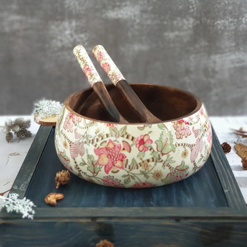 Salad Bowl with Matching Servers (Large) - Autumn Floral