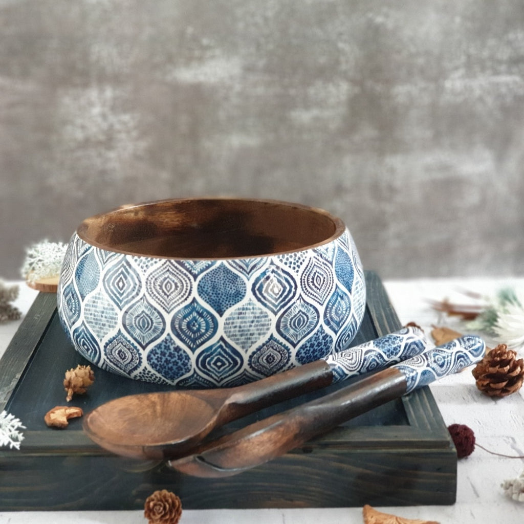 Palm Mandala Salad Bowl with Matching Servers (Large)