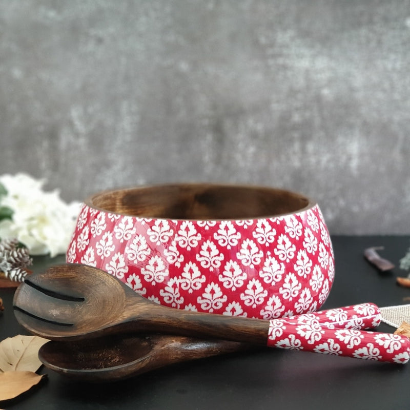Salad Bowl with Matching Servers (Large) - Red & White Ikat