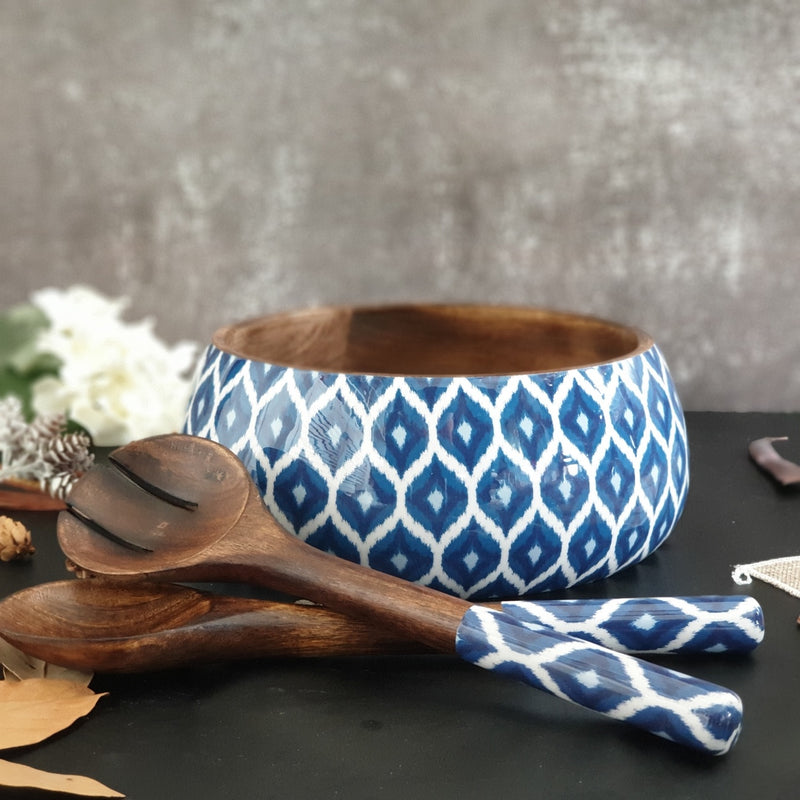 Salad Bowl with Matching Servers (Large) - Blue & White Ikat