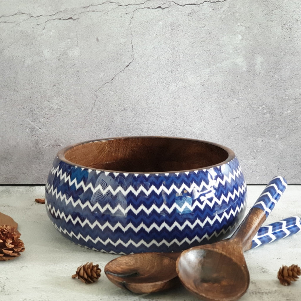Salad Bowl with Matching Servers (Large) - Dark Blue Chevron