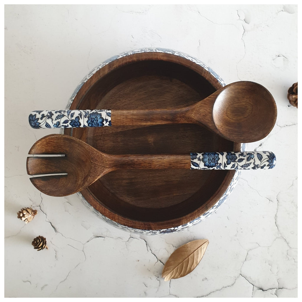 Salad Bowl with Matching Servers (Large) - Indigo Blue Floral