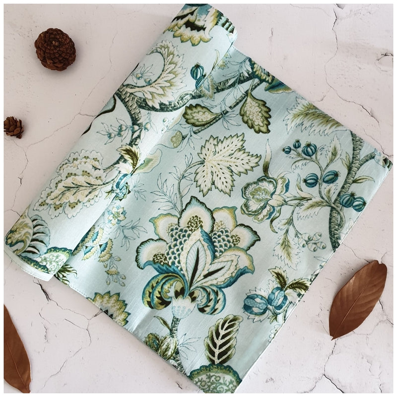 TABLE RUNNER IN SILK - SKY BLUE FLORAL