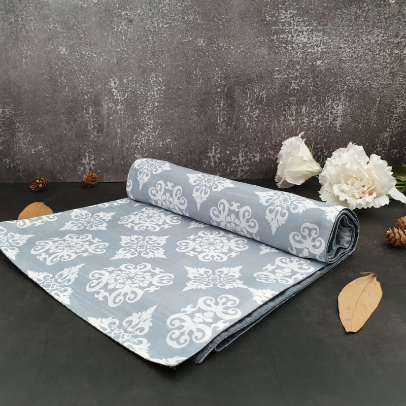 TABLE RUNNER - REVERSIBLE, GRAY FLORAL