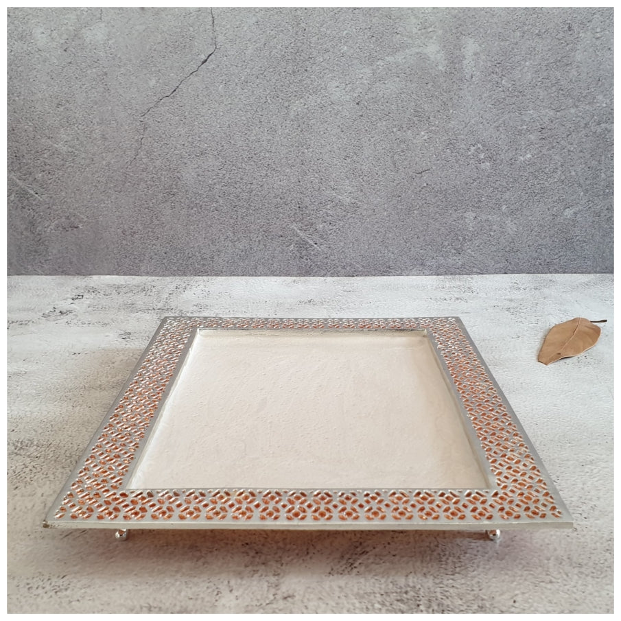 Tray - Metal - Intricate Design - Silver Plated