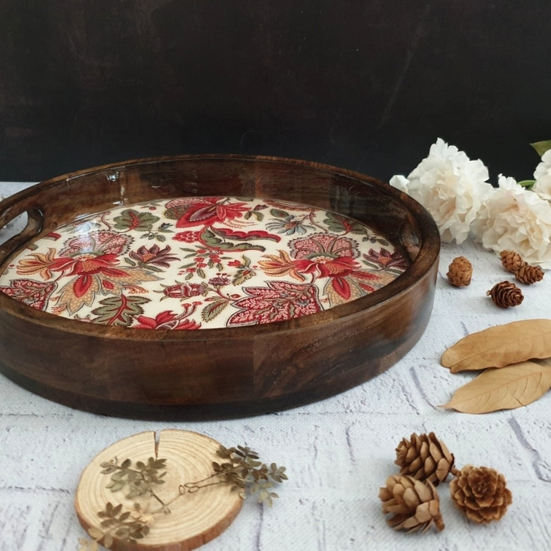 KALAMKARI FLORAL COLLECTION ROUND SERVING TRAY WITH HANDLE CUTS