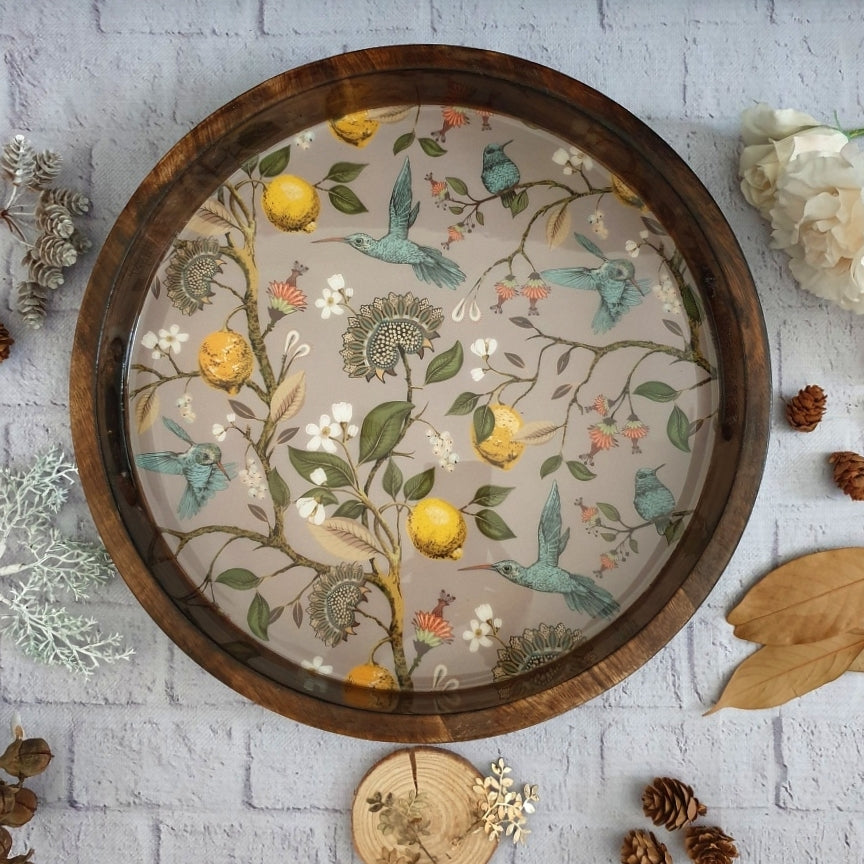 HUMMING BIRD COLLECTION ROUND SERVING TRAY WITH HANDLE CUTS