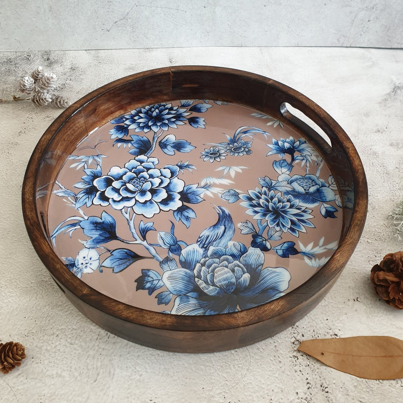 SERVING TRAY WITH HANDLE CUTS - ROUND - ENCHANTED FOREST EARTHY