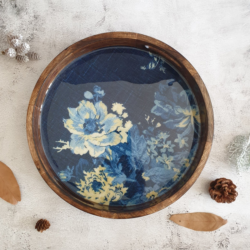 SERVING TRAY WITH HANDLE CUTS - ROUND - DENIM BLUE FLORAL
