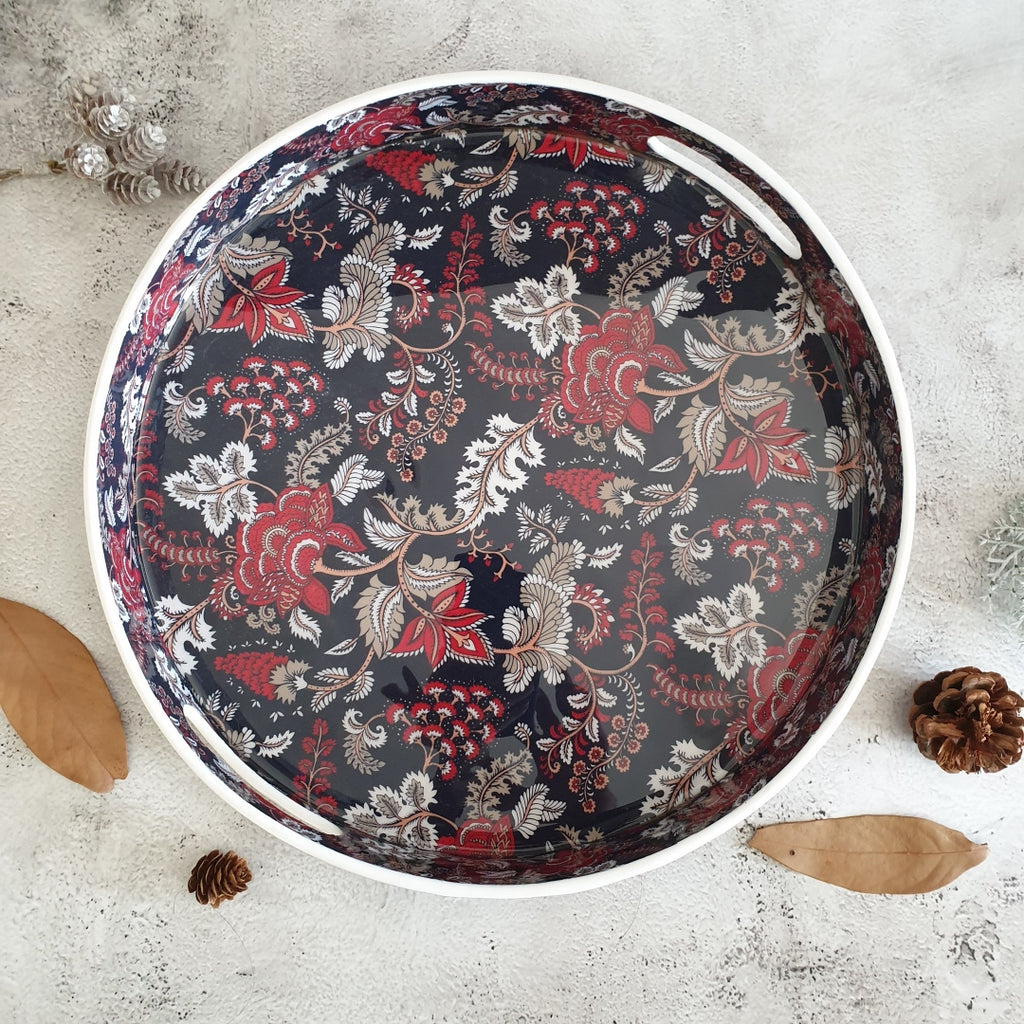 Serving Tray - Round - Dark Blue Floral