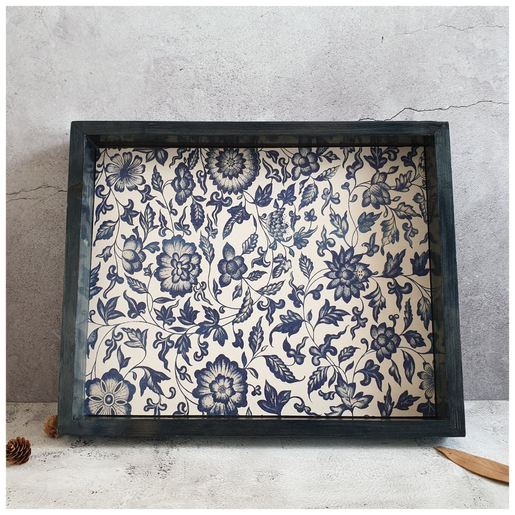 Serving Tray - Rectangle - Large - Vintage Floral - Indigo