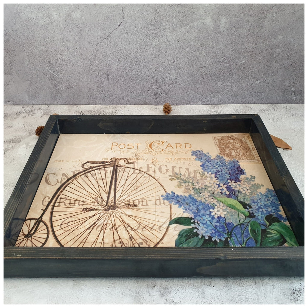 Serving Tray - Rectangle - Large - Vintage Paris Cycle - Gray