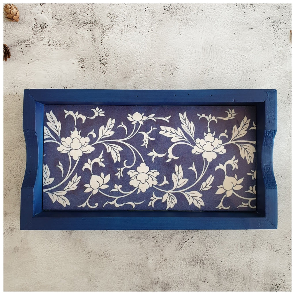 Serving Tray - Rectangle - Small - Floral Weave - Indigo