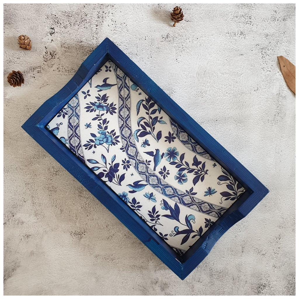 Serving Tray - Rectangle - Small - Floral Wave - Indigo
