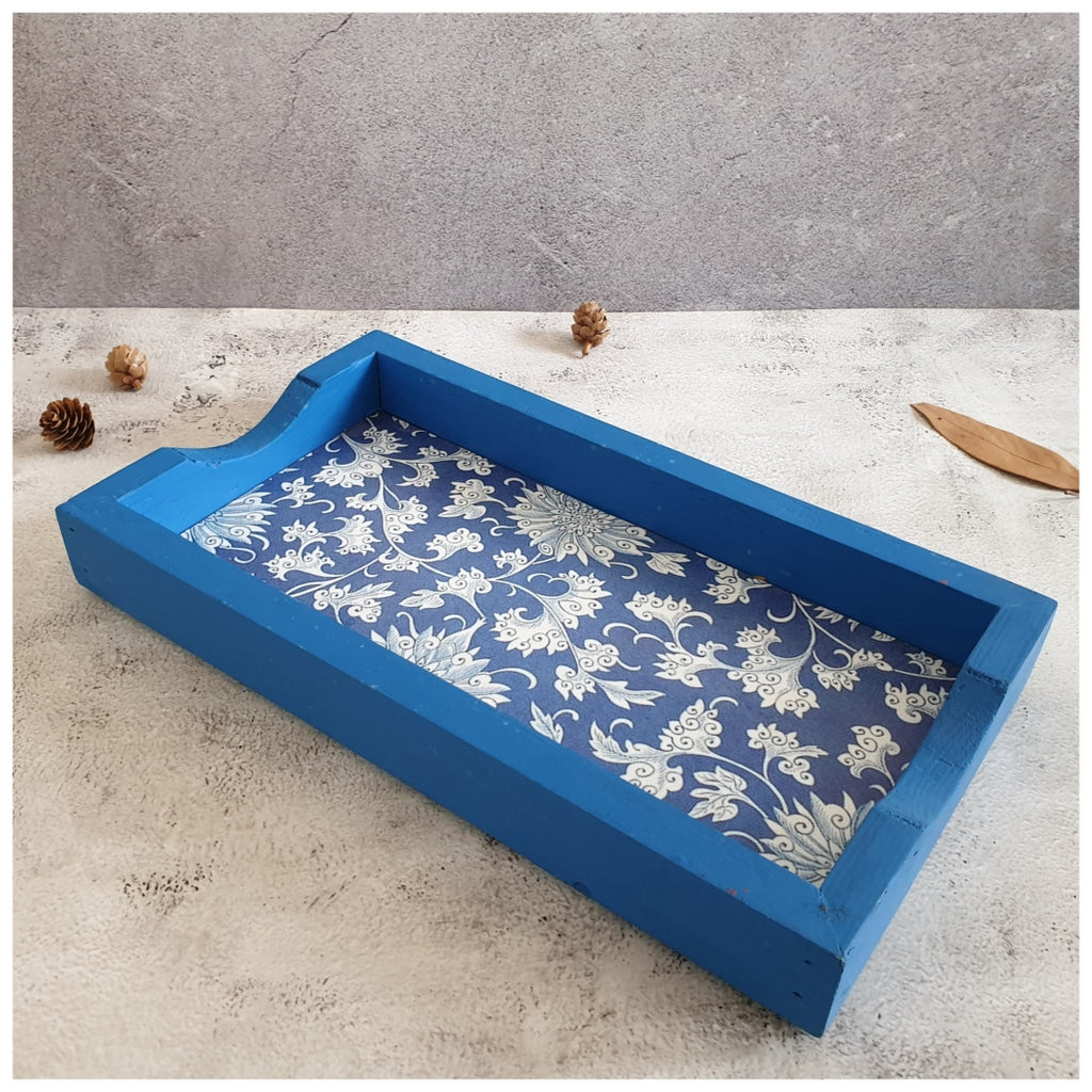 Serving Tray - Rectangle - Small - Floral Mandala - Indigo