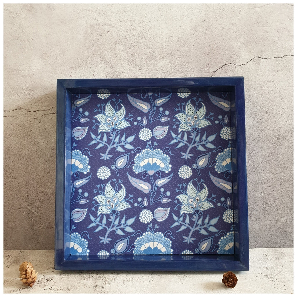 Serving Tray - Square - Medium - Floral Bloom - Indigo