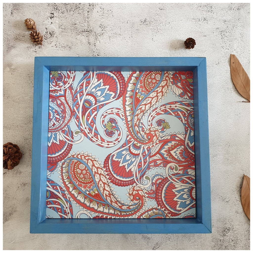 Serving Tray - Square - Medium - Floral Paisley - Blue