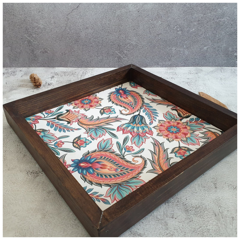 Serving Tray - Square - Medium - White Floral Paisley - Dark Brown