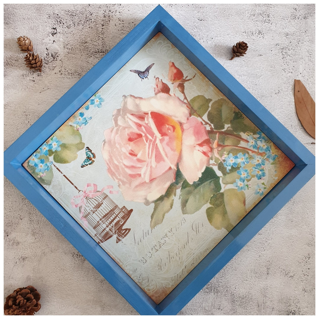 Serving Tray - Square - Medium - Paris Vintage Rose & Cage - Blue