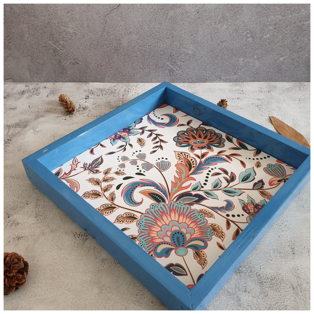Serving Tray - Square - Medium - Vintage Bloom - Blue