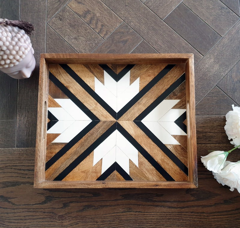 Black & White Inlay Work Serving Tray