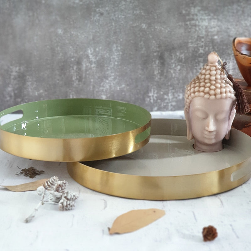 Metal Serving Tray Set of 2, Round - Light Olive & Natural Beige Shade