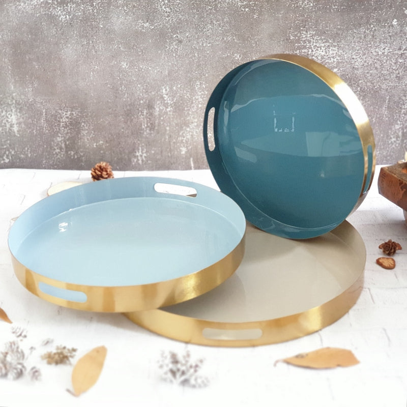 Metal Serving Tray Set of 3, Round - Beige, Blue & Aqua Shades