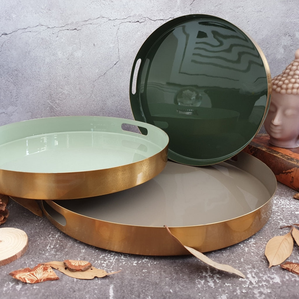 Metal Serving Tray Set of 3, Round - Brown, Green & Olive Shade