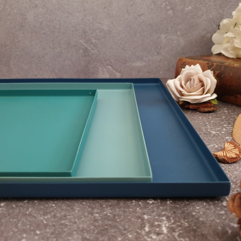 Metal Serving Tray Set of 3, Square - Shades of Blue