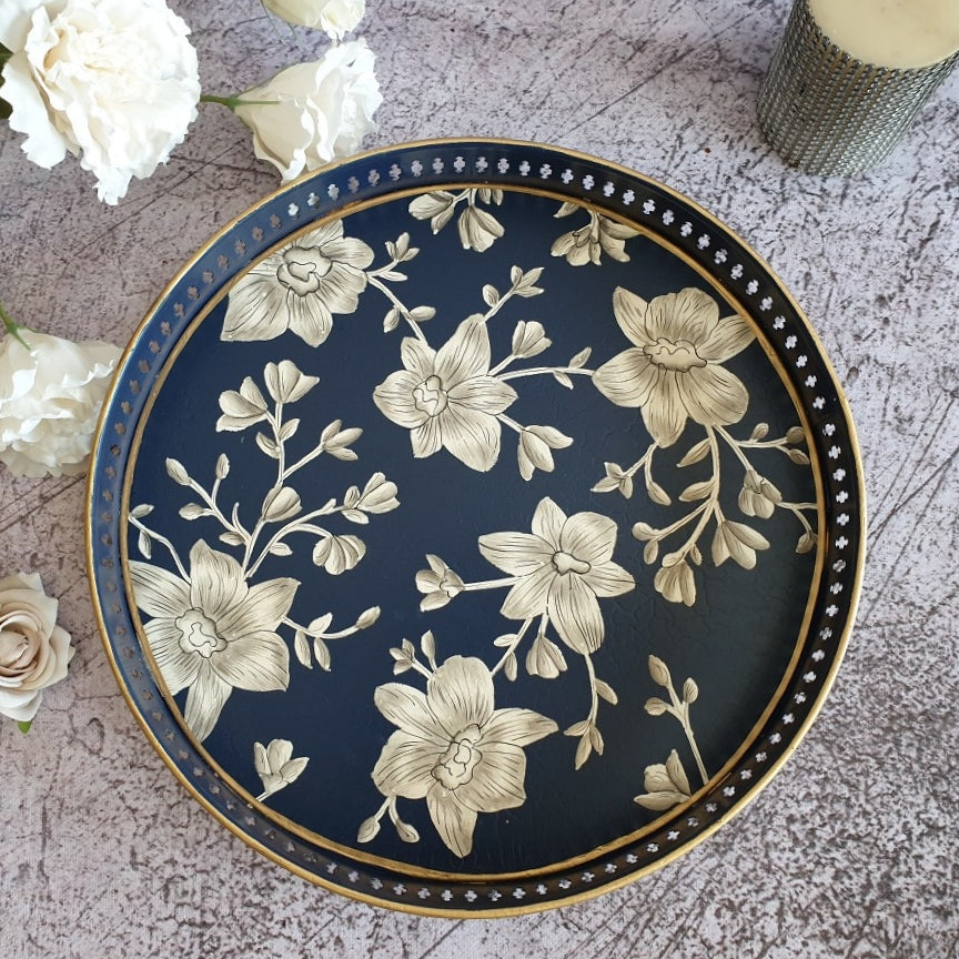 HAND PAINTED - SERVING TRAY ROUND LARGE - BLOOMING HIBISCUS DESIGN