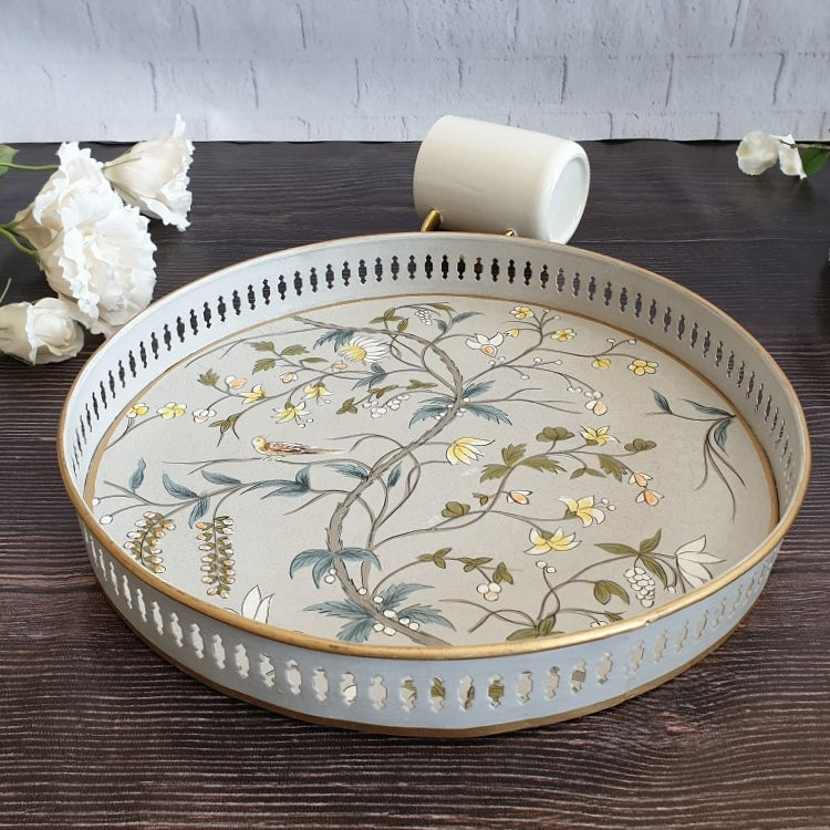 HAND PAINTED - SERVING TRAY ROUND LARGE - GREY BLOSSOM