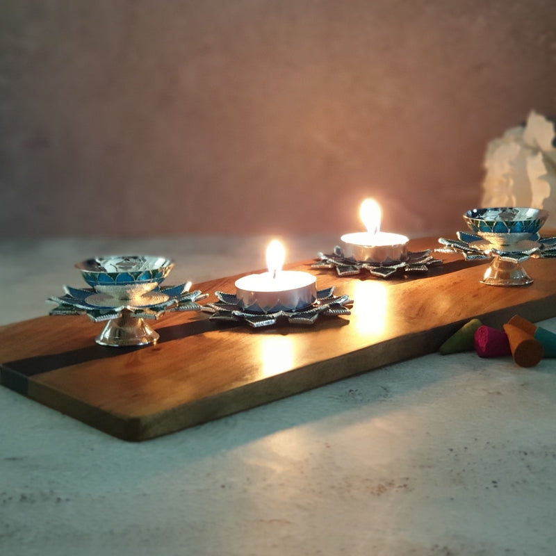 Diya & Tea Light Holder - Silver Plated - Blue - Set of 4