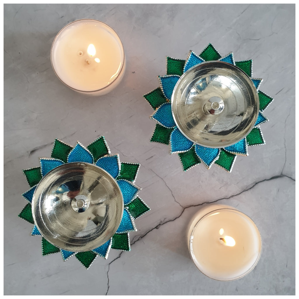 Diya - Silver Plated - Blue - Set of 2