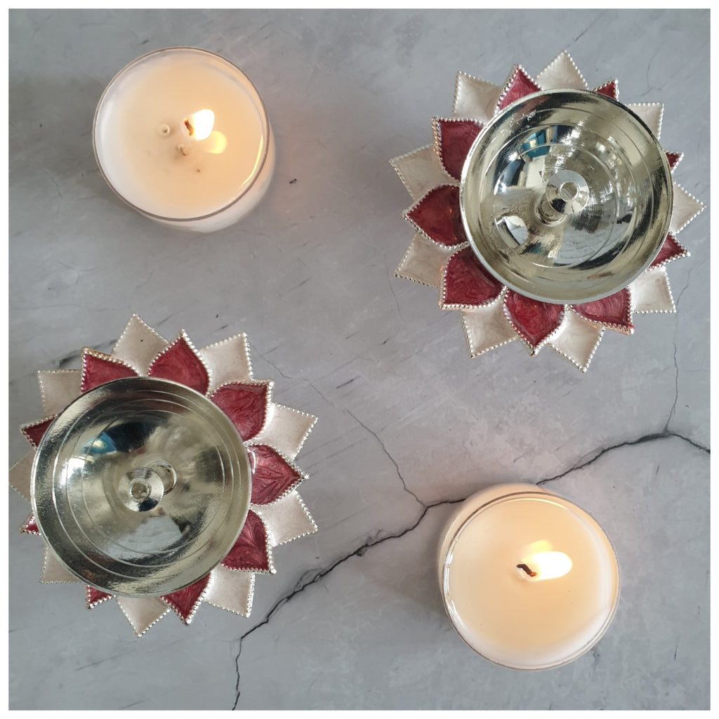 Diya - Silver Plated - Rose - Set of 2