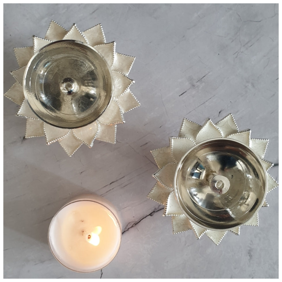 Diya - Silver Plated - White - Set of 2