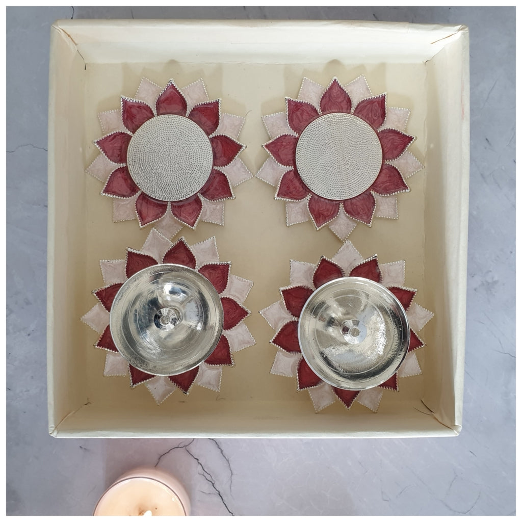 Diya & Tea Light Holder - Silver Plated - Rose - Set of 4