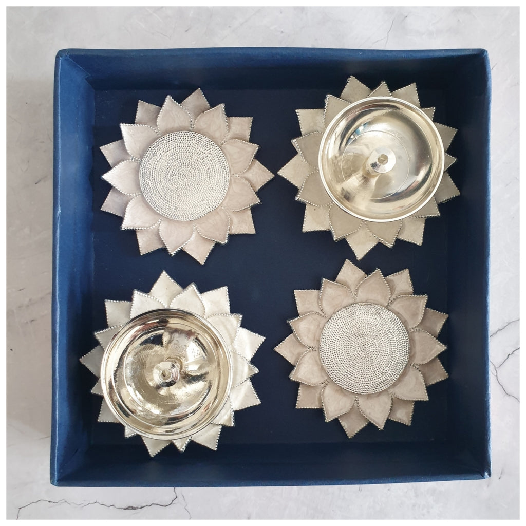 Diya & Tea Light Holder - Silver Plated - White - Set of 4