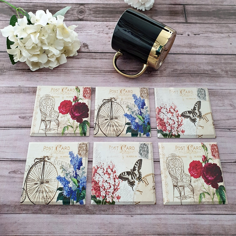 Vintage Paris Coaster Set Of 6